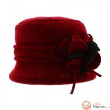 Sombrero cloche mujer lana hervida con flor
