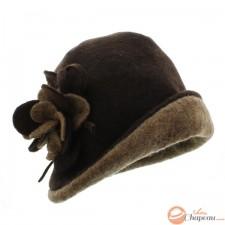 Sombrero cloche mujer de lana hervida con flor