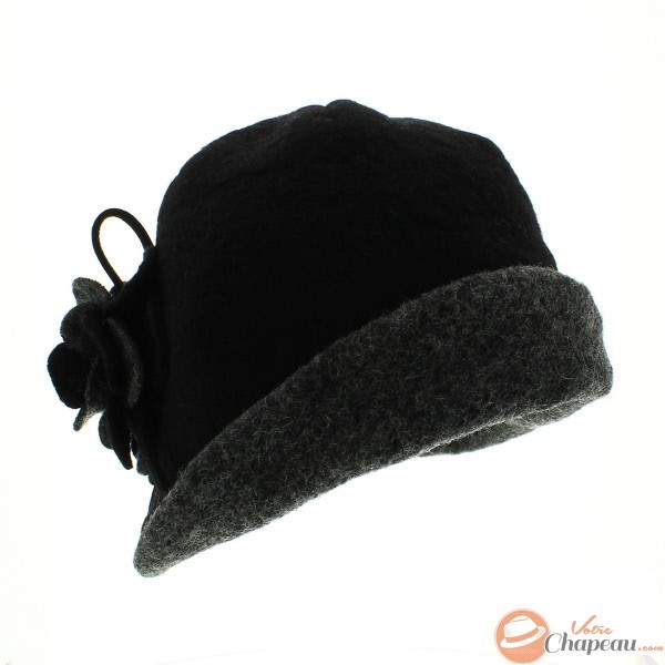 2b5f403133c Boiled wool woman cloche hat with flower