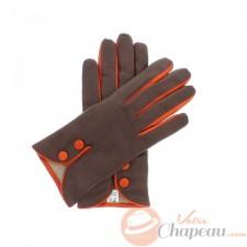 Gants marron/orange à boutons