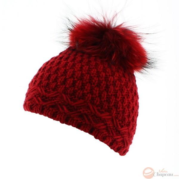 Veiron , Bonnet pompon tendance , Laine, alpaga et fourrure , Rouge