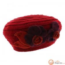 Berretto donna lana cotta due fiori