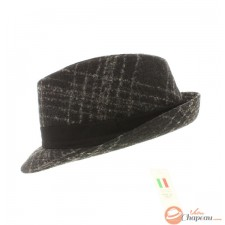 Wool trilby anthracite white striped and black band