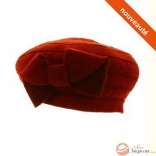 Camelia - Béret laine bouillie avec noeud - Rouge